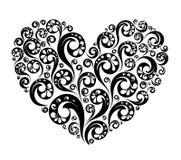 Διανυσματική μαύρη χρωματισμένη καρδιά Στοκ Φωτογραφίες