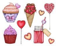 Διανυσματική μεγάλη συλλογή με τα γλυκά μέχρι την ημέρα του βαλεντίνου του ST στοκ φωτογραφίες