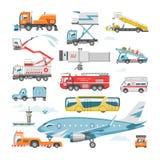 Διανυσματική μεταφορά αεροπορίας οχημάτων αερολιμένων στο σύνολο απεικόνισης τερματικών και αεροπλάνων ή επιβατηγών αεροσκαφών φο απεικόνιση αποθεμάτων