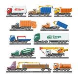 Διανυσματική μεταφορά οχημάτων ή φορτίου παράδοσης φορτηγών και μεταφορά μεταφοράς με φορτηγό με το σύνολο απεικόνισης ρυμουλκών  διανυσματική απεικόνιση