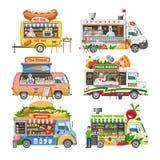 Διανυσματική μεταφορά παράδοσης οχημάτων και γρήγορου γεύματος τρόφιμο-φορτηγών οδών φορτηγών τροφίμων με το σύνολο απεικόνισης χ ελεύθερη απεικόνιση δικαιώματος