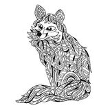 Διανυσματική μονοχρωματική συρμένη χέρι zentagle απεικόνιση της αλεπούς Στοκ Εικόνες