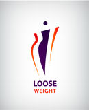 Διανυσματική μορφή γυναικών, λίπος και λεπτά, χαλαρά σύμβολο βάρους και λογότυπο διανυσματική απεικόνιση