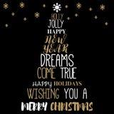 Διανυσματική μορφή χριστουγεννιάτικων δέντρων από τις λέξεις - τυπογραφική σύνθεση Στοκ εικόνες με δικαίωμα ελεύθερης χρήσης