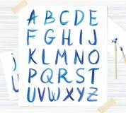 Διανυσματική μπλε πηγή watercolor, χειρόγραφες επιστολές Abc Στοκ φωτογραφία με δικαίωμα ελεύθερης χρήσης