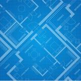 Διανυσματική μπλε τυπωμένη ύλη σχεδίων αρχιτεκτονικός όπως η ανασκόπηση είναι μπορεί να πλαισιώσει χρησιμοποιημένος Στοκ Εικόνες