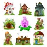 Διανυσματική νεράιδα κινούμενων σχεδίων σπιτιών φαντασίας treehouse και μαγικό σύνολο του χωριού απεικόνισης κατοικίας θεάτρου πα ελεύθερη απεικόνιση δικαιώματος