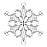 Διανυσματική νιφάδα χιονιού στο ύφος zentangle doodle, μαύρο mandala για το α ελεύθερη απεικόνιση δικαιώματος