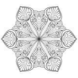 Διανυσματική νιφάδα χιονιού στο ύφος zentangle doodle, mandala για το ενήλικο γ διανυσματική απεικόνιση