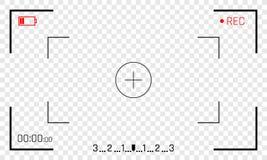 Διανυσματική οθόνη σκοπεύτρων πλαισίων καμερών της ψηφιακής επίδειξης βίντεο εγγραφής με τα πλαίσια καμερών φωτογραφιών στο διαφα απεικόνιση αποθεμάτων