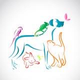 Διανυσματική ομάδα κατοικίδιων ζώων απεικόνιση αποθεμάτων