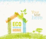 Διανυσματική οργανική δημιουργική απεικόνιση σπιτιών Eco στο ανακυκλωμένο υπόβαθρο εγγράφου Στοκ φωτογραφίες με δικαίωμα ελεύθερης χρήσης