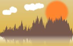 Διανυσματική οριζόντια απεικόνιση των δασικών αλσυλλίων στον ποταμό στο ηλιοβασίλεμα Στοκ εικόνα με δικαίωμα ελεύθερης χρήσης