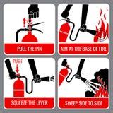 Διανυσματική οδηγία πυροσβεστήρων διανυσματική απεικόνιση