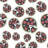 """Διανυσματική πίτσα εικόνας r Άνευ ραφής σχέδιο φετών πιτσών \ """"s σε ένα άσπρο υπόβαθρο Στρώματα που ομαδοποιούνται για το εύκολο  διανυσματική απεικόνιση"""