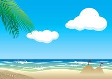 Διανυσματική παραλία με την κυμάτωση Στοκ εικόνες με δικαίωμα ελεύθερης χρήσης