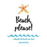 Διανυσματική παραλία θερινού αποσπάσματος, παρακαλώ Τυπωμένη ύλη με το αστέρι θάλασσας, κύματα διανυσματική απεικόνιση