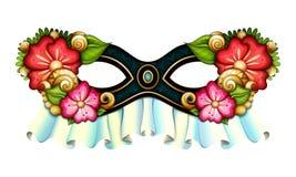 Διανυσματική περίκομψη μάσκα της Mardi Gras καρναβάλι με τα διακοσμητικά λουλούδια ελεύθερη απεικόνιση δικαιώματος