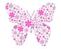 Διανυσματική πεταλούδα με τη σύσταση λουλουδιών Στοκ εικόνα με δικαίωμα ελεύθερης χρήσης