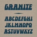 Διανυσματική πηγή γρανίτη Ισχυρή εγγραφή αλφάβητου λατινικές επιστολές Στοκ φωτογραφίες με δικαίωμα ελεύθερης χρήσης