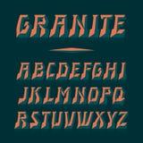 Διανυσματική πηγή γρανίτη Ισχυρή εγγραφή αλφάβητου λατινικές επιστολές Στοκ Φωτογραφίες