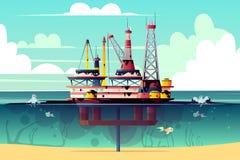 Διανυσματική πλατφόρμα άντλησης πετρελαίου στο νερό με τη ρύπανση απεικόνιση αποθεμάτων