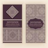 Διανυσματική πρόσκληση, κάρτες με τα εθνικά στοιχεία arabesque Σχέδιο ύφους Arabesque Κομψές floral αφηρημένες διακοσμήσεις ελεύθερη απεικόνιση δικαιώματος