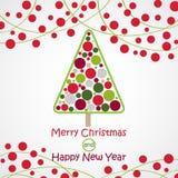 Διανυσματική πρόσκληση με το χριστουγεννιάτικο δέντρο Χριστούγεννα ανασκόπησης εύθυμα invitation new year Στοκ Φωτογραφία