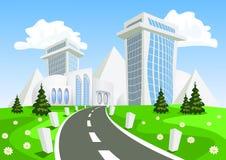 Διανυσματική πόλη φαντασίας - καλοκαίρι ελεύθερη απεικόνιση δικαιώματος