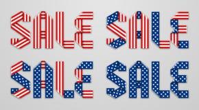 Διανυσματική πώληση λέξης που πραγματοποιείται με τη διπλωμένη κορδέλλα των αστεριών αμερικανικών σημαιών Στοκ Εικόνες