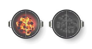 Διανυσματική ρεαλιστική τρισδιάστατη απεικόνιση της στρογγυλής κενής σχάρας σχαρών με τον καυτό άνθρακα, που απομονώνεται στο άσπ διανυσματική απεικόνιση