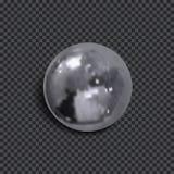 Διανυσματική ρεαλιστική τρισδιάστατη μεταλλική σφαίρα με τη σκιά που απομονώνεται στο σκοτεινό διαφανές υπόβαθρο διανυσματική απεικόνιση