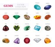 Διανυσματική ρεαλιστική μεγάλη συλλογή πετρών Jewerly πολύτιμων λίθων Στην άσπρη ανασκόπηση Στοκ Εικόνες