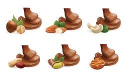 Διανυσματική ρεαλιστική συλλογή λειωμένης της υγρό χύνοντας σοκολάτας και των διαφορετικών καρυδιών η ανασκόπηση απομόνωσε το λευ Στοκ φωτογραφία με δικαίωμα ελεύθερης χρήσης