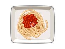 Διανυσματική σάλτσα ντοματών μακαρονιών στο πιάτο στο άσπρο υπόβαθρο απεικόνιση αποθεμάτων