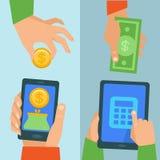Διανυσματική σε απευθείας σύνδεση τραπεζική έννοια διανυσματική απεικόνιση