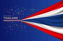 Διανυσματική σημαία του εμβλήματος της Ταϊλάνδης με το ζωηρόχρωμο σχέδιο εγγράφου Στοκ φωτογραφίες με δικαίωμα ελεύθερης χρήσης