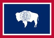 Διανυσματική σημαία του Ουαϊόμινγκ επίσης corel σύρετε το διάνυσμα απεικόνισης Πολιτεία Ameri απεικόνιση αποθεμάτων
