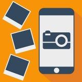 Διανυσματική σκιά τηλεφωνικών φωτογραφιών επίπεδη Στοκ εικόνες με δικαίωμα ελεύθερης χρήσης