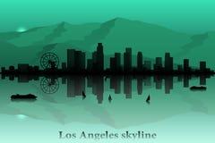 Διανυσματική σκιαγραφία οριζόντων πόλεων του Λος Άντζελες απεικόνιση αποθεμάτων