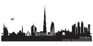 Διανυσματική σκιαγραφία οριζόντων πόλεων του Ντουμπάι Ε.Α.Ε. απεικόνιση αποθεμάτων