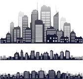 Διανυσματική σκιαγραφία πόλεων που απομονώνεται στο λευκό ελεύθερη απεικόνιση δικαιώματος