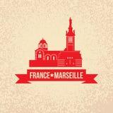 Διανυσματική σκιαγραφία της Μασσαλίας, Γαλλία Στοκ Εικόνα