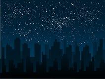 Διανυσματική σκιαγραφία της πόλης Ουρανός αστεριών 10 eps Στοκ Φωτογραφία