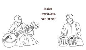 Διανυσματική σκιαγραφία του ινδικού μουσικού Στοκ Εικόνες