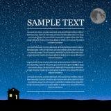 Διανυσματική σκιαγραφία του σπιτιού στον ουρανό αστεριών Στοκ Φωτογραφία