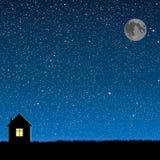 Διανυσματική σκιαγραφία του σπιτιού στον ουρανό αστεριών Στοκ Εικόνες