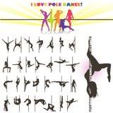 Διανυσματική σκιαγραφία των χορευτών πόλων ελεύθερη απεικόνιση δικαιώματος
