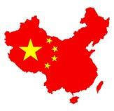 Διανυσματική σκιαγραφία χαρτών της Κίνας με τη εθνική σημαία πέρα από το χάρτη ελεύθερη απεικόνιση δικαιώματος
