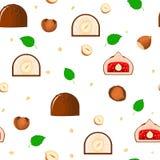 Διανυσματική σοκολάτας απεικόνιση σχεδίων καραμελών άνευ ραφής Σοκολάτες και ένα κομμάτι ολόκληρου του στήθους με τα γλυκά φουντο διανυσματική απεικόνιση